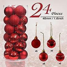 Valery Madelyn 24tlg. 4cm Luxuriös Rot Bruchsicher Weihnachtskugel Dekoration,Baumkugeln für Urlaub Hochzeit Deko,Themen mit Baumrock (nicht inkl.)