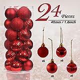 Valery Madelyn 24tlg. 4cm Luxuriös Rot Bruchsicher Weihnachtskugel Dekoration,Baumkugeln für Urlaub Hochzeit Deko,Themen mit...