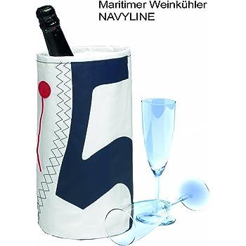 Weinkühler zum Anhängen weiß/marineblau Segeltuch