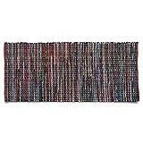 Flickenteppich Madras | handgewebter Teppich | aus 100% Recycling Baumwolle | Fleckerlteppich in vielen Größen | bunt | 60x90 cm