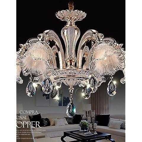6 semáforos ZSQ Simple modernos candelabros de estilo europeo, Flores de Cristal colgante LED luces , 220-240 v #4694