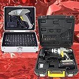 """KIT con 2 piezas TALADRO ATORNILLADOR ELECTRICO """"PROFI HAMMER DRILL"""" + """"PROFI-BIT-DRILL"""" - ATORNILLADOR DESTORNILLADOR 2-velocidades 18V LiIon 1500mAh CARGADOR RAPIDO para la batería + 102 brocas en MALETA DE ALUMINIO y BATERÍA Li-Ion"""