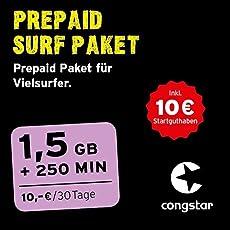 congstar Prepaid Surf Paket [SIM, Micro-SIM und Nano-SIM] – Das Prepaid-Paket für Vielsurfer in bester D-Netz-Qualität.