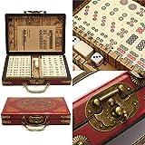 Loveinwinter Jeu de Mahjong Mahjong de Voyage Portable 144 pcs Mahjong avec Un étui en Cuir avec des Instructions en Anglais