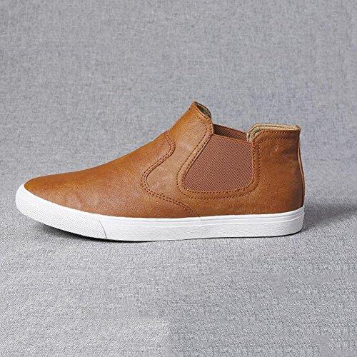 YIXINY Chaussures de sport Mode Loisirs Chaussures Pour Hommes PU Jeunesse Chaussures Lazy Chaussures De Plaque Chaussures De Conduite Quatre Couleurs ( Couleur : Black 1 , taille : EU39/UK6.5/CN40 ) Marron