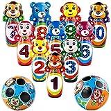 jerryvon Jeu de Quilles Animaux avec 2 Ballons et 10 Quilles Jeux Plein Air Cadeau pour Enfants 3 4 5 6 7 Ans