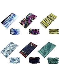 Datechip Multifonctions Magic 12 en 1 Bandeau Foulard Bandana écharpe anti-insectes UV [Paisley] Bracelet, Casque, Cagoule, Bandeau, Cache-cou, Premium 100% Microfibre set A/6-Pcs