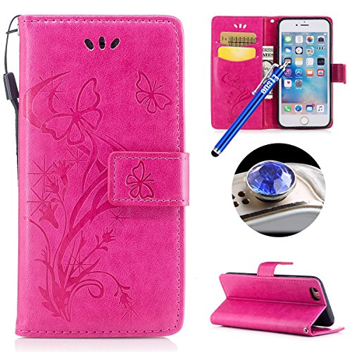 Etsue iPhone 7 Plus Cover,iPhone 7 Plus Custodia in Pelle Portafoglio Lusso Style Carina Lovely Orso Modello Artificiale Leather Pu Puro Wallet/Libro/Flip Antigraffio Bumper Protettiva Case Cover Morb rosa/Goffratura