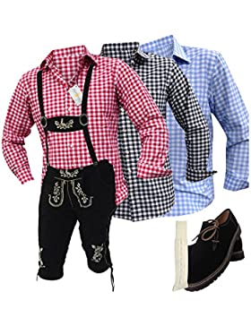 Trachtenhosen Anzug Lederhosen+Trachtenhemden+Kniestrümpfe+Haferl Schuhe+Träger Echt Leder Schwarz Herren (46)