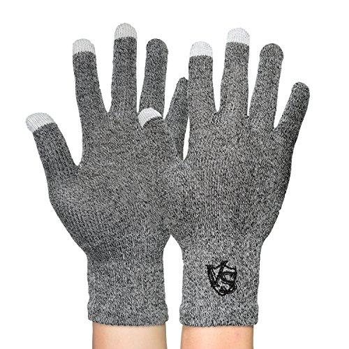 Vital Salveo-Full Finger Recovery Touchscreen Handschuhe für iPhone, iPad, HTC mehr Handys und Tablets (Paar) Gr. Medium, hellgrau (Finger-kompression Handschuhe Volle)
