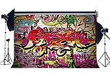 Sunny Star Vinyl 7X5FT Graffiti Backdrop Retro 80's Style Hip Hop Backdrops Multicolor Hand Drwaing Wallpaper Artistic 90's Photography Background for Boys Men Happy Birthday Photo Studio Props YX761
