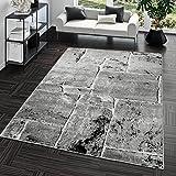 Teppich Steinboden Marmor Optik Design Modern Wohnzimmerteppich Grau Top Preis, Größe:160x220 cm