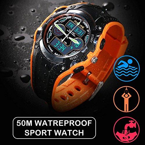 prezzo competitivo d902c 3cb34 Orologio digitale sportivo per bambini, orologio analogico al quarzo,  subacqueo, con sveglia e cronometro, colore arancione
