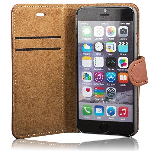 Xcessor Flip Open Ledertasche PU Leder Schutzhülle für Apple iPhone 6. Brieftasche Stehe mit Magnetverschluss. Schwarz Leder / Braun