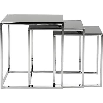 ac design furniture 0426862149 3 satz tisch gurli schwarzglas 8 mm gestell metall verchromt. Black Bedroom Furniture Sets. Home Design Ideas