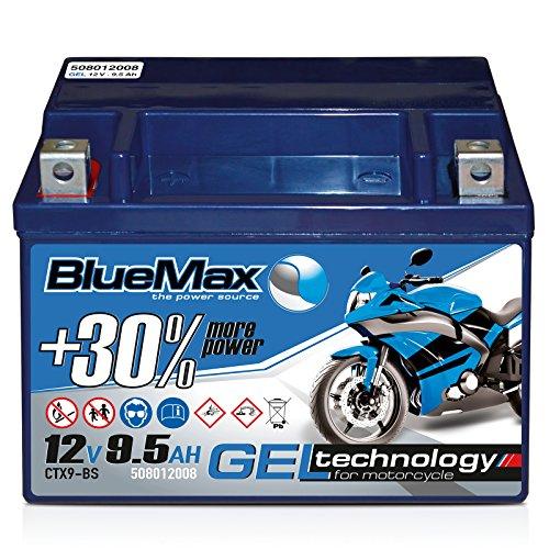 Preisvergleich Produktbild Motorradbatterie 12 V / 9, 5 Ah - 140 A / EN CTX9-BS GEL 50812 BlueMax YTX9-BS