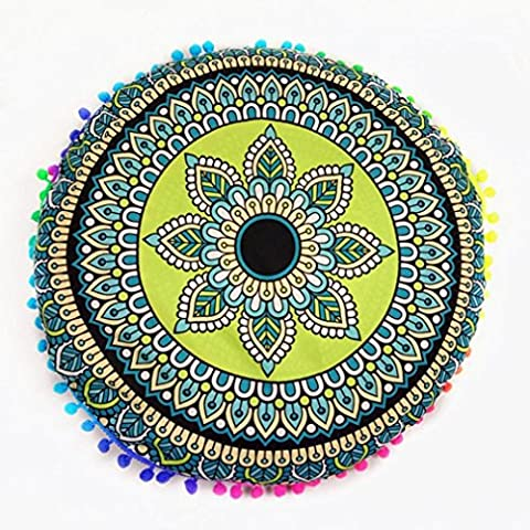 Indexp Multicolor Round Pillowcase Indian Bohemian Cushions Mandala Floor Pillows Cover(17.0x17.0