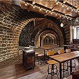 Personalizado 3D Mural Wallpaper Creativo Espacio Extendido Pared De Ladrillo Túnel Bar Restaurante Personalidad Pintura De Pared Wallpaper