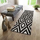 WE LOVE RUGS CARPETO Läufer Teppich Brücke Teppichläufer - Orientalisches Marokkanische - Flur Modern Designer Muster Meterware - Casablanca Kollektion von Carpeto - Schwarz Weiß - 60 x 150 cm