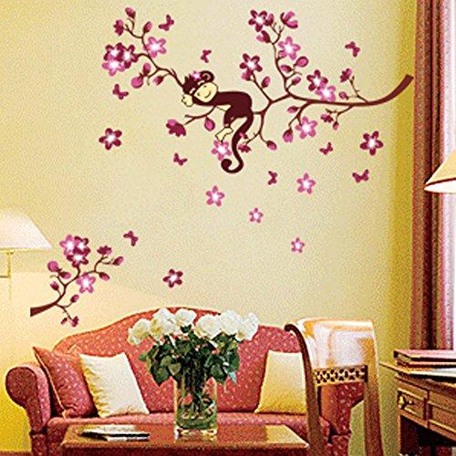 EverTrust (TM)-Adesivi Peach Blossom Fiori Scimmia Beautiful Spring View fai