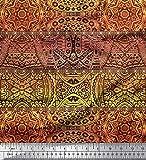 Soimoi Gelb Satin Seide Stoff Streifen & Mandala