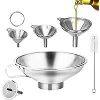 Entonnoir Inox 4 Pcs,Entonnoir à Confiture Inox,Entonnoir Cuisine Inox avec Filtre,Petit Entonnoir,Entonoir Alimentaire…
