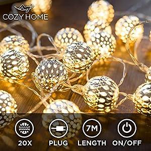 CozyHome marokkanische LED Lichterkette - 7 Meter   Mit Netzstecker NICHT batterie-betrieben   20 LEDs warm-weiß   Kugeln Orientalisch   Deko Silber - kein lästiges austauschen der Batterien
