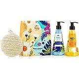 Plum BodyLovin' Beachin' n' Bloomin Shower Gel Duo Gift Set Beachy Floral Fragrances SuphateFree Loofah Inside, Multiple, 240