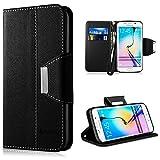 Samsung Galaxy S6 Edge Hülle,Vakoo [Bookstyle] Handyhülle Premium PU-Leder Tasche Etui Schutzhülle für Samsung Galaxy S6 Edge (Schwarz)