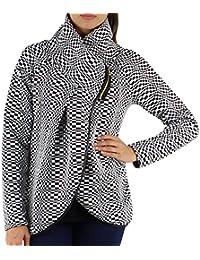 GG-Dame-Frauen Italian Lagenlook Quirky Layer-Zip Collared Langarm Cocoon-Mantel-Jacken Poncho Cape