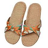 Eizur Chaussons de Lin Eté Unisexe Antidérapant Pantoufles Orteil Ouvert Maison Chaussons d'intérieur Sandales Chaussures de Plage pour Hommes Femmes