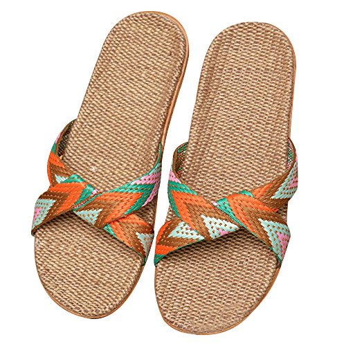 Eizur Ciabatte Antiscivolo Punta Aperta Pantofole Lino Sandali Scarpe Piatte Scarpe da spiaggia Ciabatte da Piscina Doccia Casuali Scarpe Tipo 2
