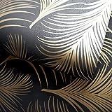 HOLDEN metallisch Feder Muster Tapete Blattmotiv modern texturiert exklusiv - 50082 schwarz gold