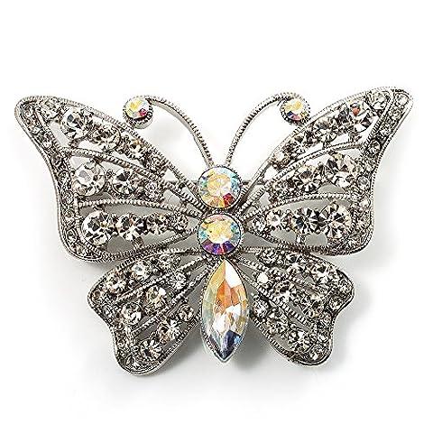 Diamante Filigree Butterfly Pin (Silver Tone)
