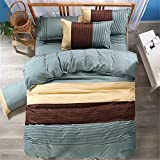 TopIn® 3 Pcs Fashion Bettbezug Set Königin, 100% Jersey Baumwolle Bettwäsche Set mit Reißverschluss-220*240cm