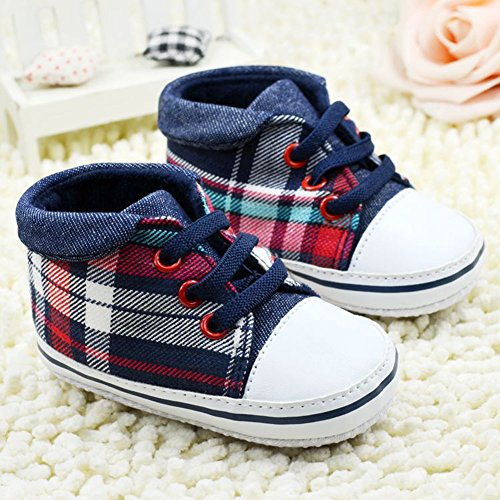 ROPALIA Toddler Baby Boys Plaid Soft Sole Casual Shoes Blue