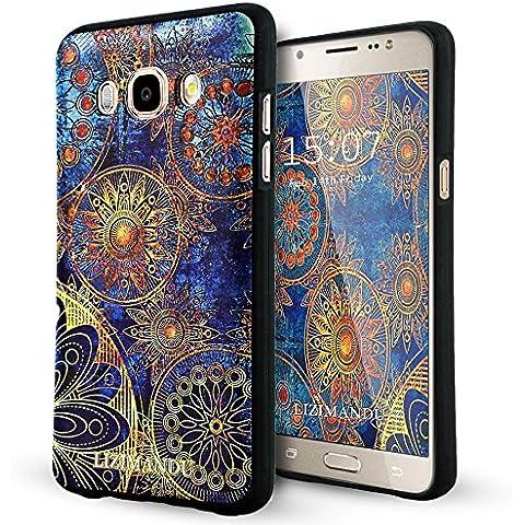 Samsung Galaxy J5 2016 Funda,Lizimandu 3D Patrón Protectiva Carcasa de Silicona Gel TPU estrecha Case Cover Para galaxy j5 2016(Flor Azul/Blue Flower)