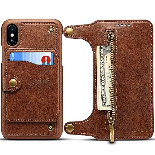 HARRMS Handy Hülle Tasche iPhone iPhone 7/8 (Klein) mit Kredit Karten Fach Geldklammer Hülle Leder Reißverschluss Handy Schutzhülle, Braun
