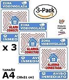 tualarmasincuotas.es  Pack o Lote de 3 Carteles disuasorios A4 Interior/Exterior Premium y Ultra-Resistentes, Placas disuasorias metálicas, 30x21 cm
