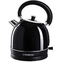 Bouilloire électrique 1,8 L noir en acier inoxydable inox 2200 W Design retro vintage cuisine