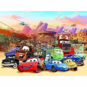 Disney cars photo wall mural wallaper diy for Disney cars large wall mural