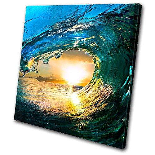 Bold Bloc Design - Sunset Seascape Tahiti Ocean Wave - 90x90cm Leinwand Kunstdruck Box gerahmte Bild Wand hängen - handgefertigt In Großbritannien - gerahmt und bereit zum Aufhängen - Canvas Art Print