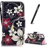 Slynmax Coque iPhone 5C Fleur Rouge Peint Mode PU Cuir Étui iPhone 5C Housse de...