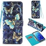BONROY Samsung Galaxy S9 Plus Hülle, Handyhülle Tasche Leder Flip Case Brieftasche Etui Schutzhülle für Samsung Galaxy S9 Plus-DREI Schmetterlinge