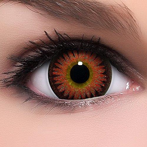 Linsenfinder Lenzera Circle Lenses rote 'Bambi Red' ohne Stärke + Kombilösung + Behälter Big Eyes 15mm farbige Kontaktlinsen (Einfach Mime Kostüm Halloween)