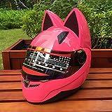 GUO Katze Ohr Band Winkel Helm Motorrad Helm Vollgesichts Helm,Rosa,M