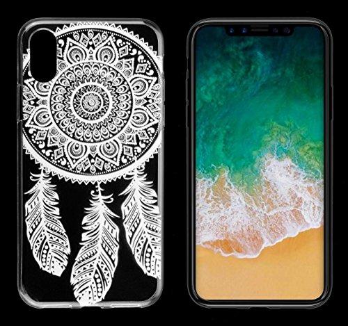yayago Hülle für Apple iPhone X Silikon Schutzhülle Hülle Case Backcover Tattoo Ornament Love Design transparent Tasche SPRING
