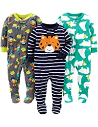 Simple Joys by Carter's 3-Pack Loose Fit Flame Resistant Fleece Footed Pajamas Bebé-Niños, Pack de 3