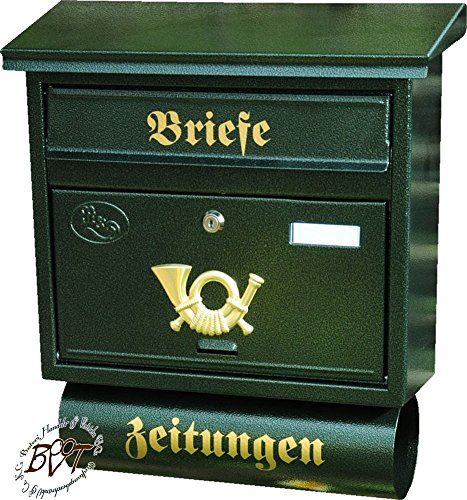 BTV Briefkasten, mit Rostschutz FG/gr groß in grün dunkelgrün moosgrün Zeitungsfach Zeitungen Post antik Mailbox Schild