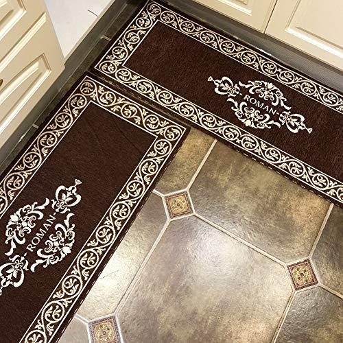 TIANQI rutschfeste Küchenmatte Wasseraufnahme Teppich Läufer Teppiche Set Klassische Matte (8mm Dicke) (Color : Brown, Size : 45X120cm+45X180cm) -